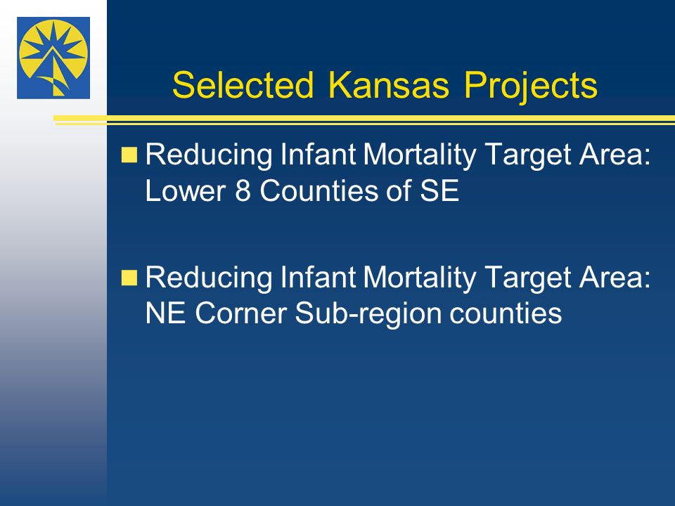 Selected Kansas Projects Reducing Infant Mortality Target Area: Lower 8 Counties of SE Reducing Infant Mortality Target Area: NE Corner Sub-region counties