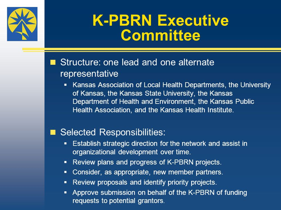 K-PBRN Executive Committee Structure: one lead and one alternate representative Kansas Association of Local Health Departments, the University of Kansas, the Kansas State University, the Kansas Department of Health and Environment, the Kansas Public Health Association, and the Kansas Health Institute.