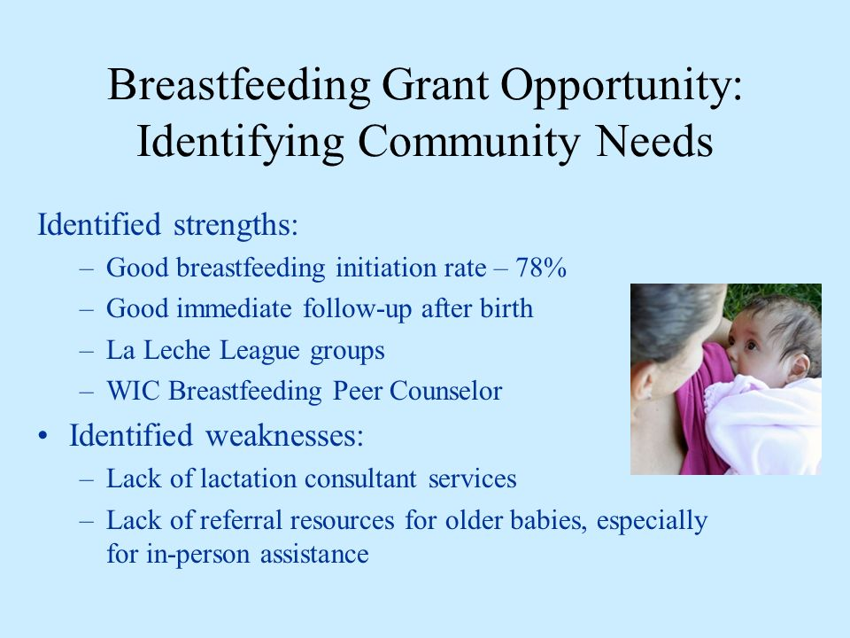 Breastfeeding Grant Opportunity: Identifying Community Needs Identified strengths: –Good breastfeeding initiation rate – 78% –Good immediate follow-up after birth –La Leche League groups –WIC Breastfeeding Peer Counselor Identified weaknesses: –Lack of lactation consultant services –Lack of referral resources for older babies, especially for in-person assistance