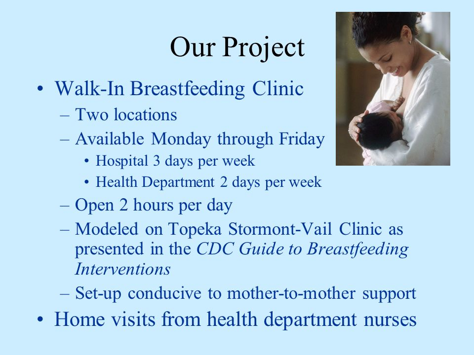 Our Project Walk-In Breastfeeding Clinic –Two locations –Available Monday through Friday Hospital 3 days per week Health Department 2 days per week –Open 2 hours per day –Modeled on Topeka Stormont-Vail Clinic as presented in the CDC Guide to Breastfeeding Interventions –Set-up conducive to mother-to-mother support Home visits from health department nurses