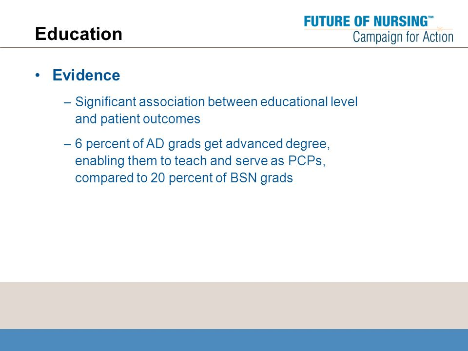 Education Evidence –Significant association between educational level and patient outcomes –6 percent of AD grads get advanced degree, enabling them to teach and serve as PCPs, compared to 20 percent of BSN grads