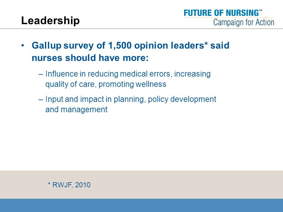 Leadership Gallup survey of 1,500 opinion leaders* said nurses should have more: –Influence in reducing medical errors, increasing quality of care, promoting wellness –Input and impact in planning, policy development and management * RWJF, 2010