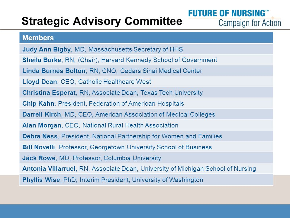 Strategic Advisory Committee Members Judy Ann Bigby, MD, Massachusetts Secretary of HHS Sheila Burke, RN, (Chair), Harvard Kennedy School of Government Linda Burnes Bolton, RN, CNO, Cedars Sinai Medical Center Lloyd Dean, CEO, Catholic Healthcare West Christina Esperat, RN, Associate Dean, Texas Tech University Chip Kahn, President, Federation of American Hospitals Darrell Kirch, MD, CEO, American Association of Medical Colleges Alan Morgan, CEO, National Rural Health Association Debra Ness, President, National Partnership for Women and Families Bill Novelli, Professor, Georgetown University School of Business Jack Rowe, MD, Professor, Columbia University Antonia Villarruel, RN, Associate Dean, University of Michigan School of Nursing Phyllis Wise, PhD, Interim President, University of Washington