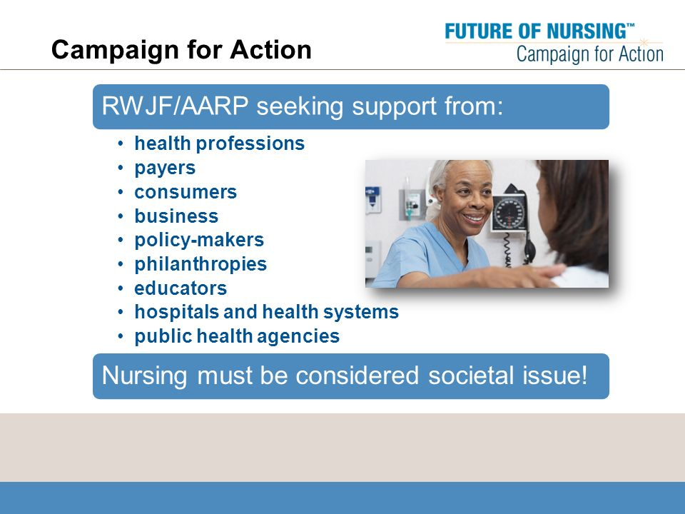 Campaign for Action RWJF/AARP seeking support from: health professions payers consumers business policy-makers philanthropies educators hospitals and health systems public health agencies Nursing must be considered societal issue!