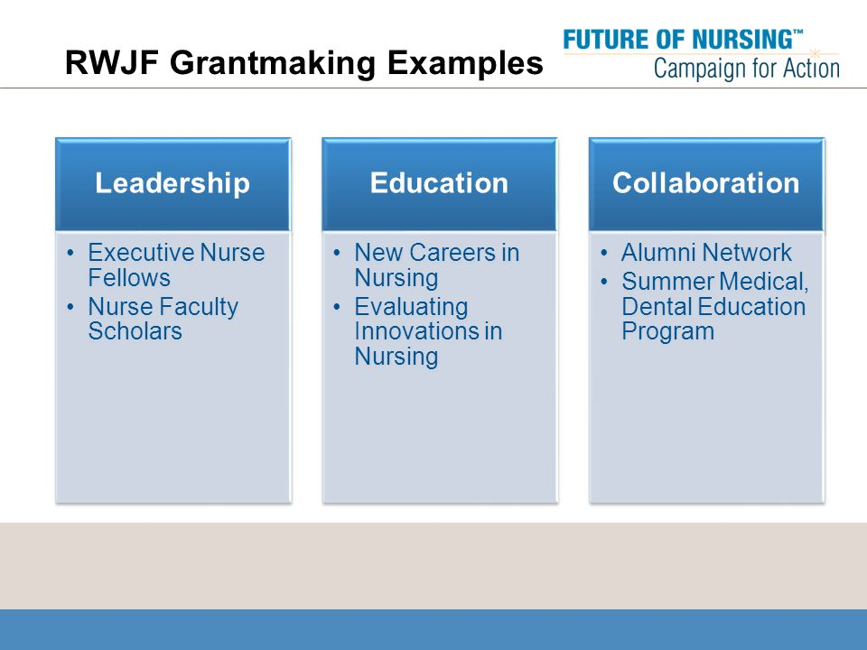 RWJF Grantmaking Examples Leadership Executive Nurse Fellows Nurse Faculty Scholars Education New Careers in Nursing Evaluating Innovations in Nursing Collaboration Alumni Network Summer Medical, Dental Education Program