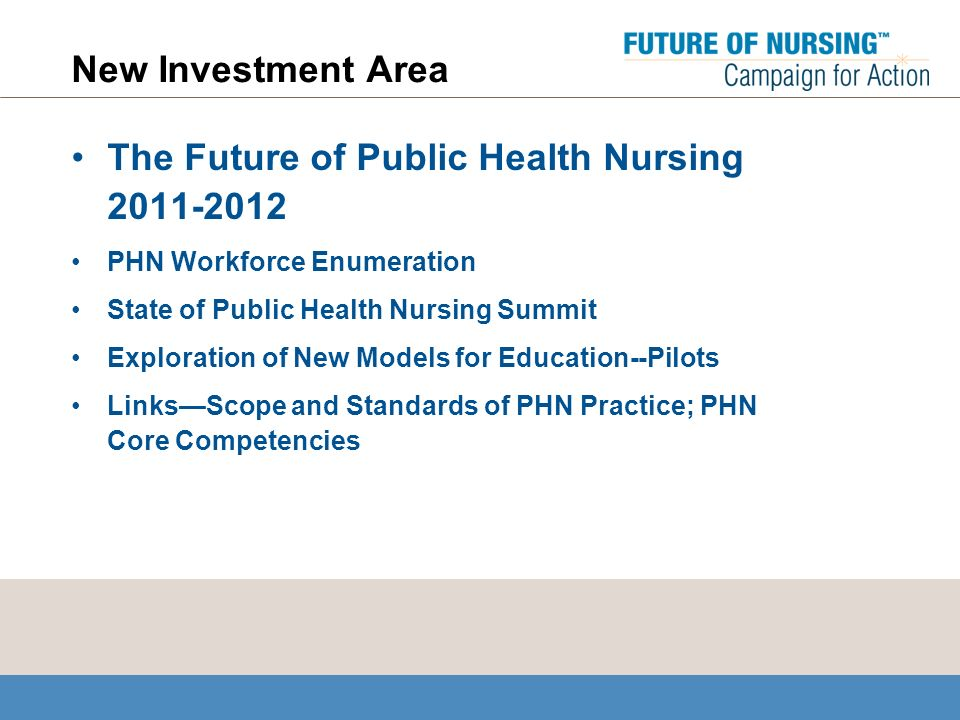 New Investment Area The Future of Public Health Nursing 2011-2012 PHN Workforce Enumeration State of Public Health Nursing Summit Exploration of New Models for Education--Pilots LinksScope and Standards of PHN Practice; PHN Core Competencies