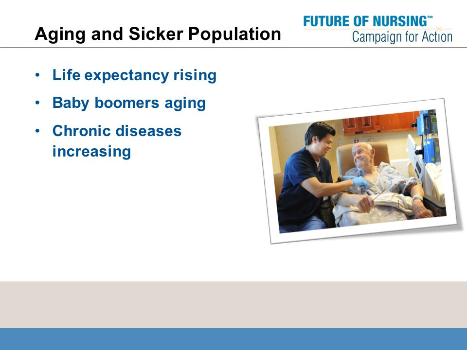 Aging and Sicker Population Life expectancy rising Baby boomers aging Chronic diseases increasing