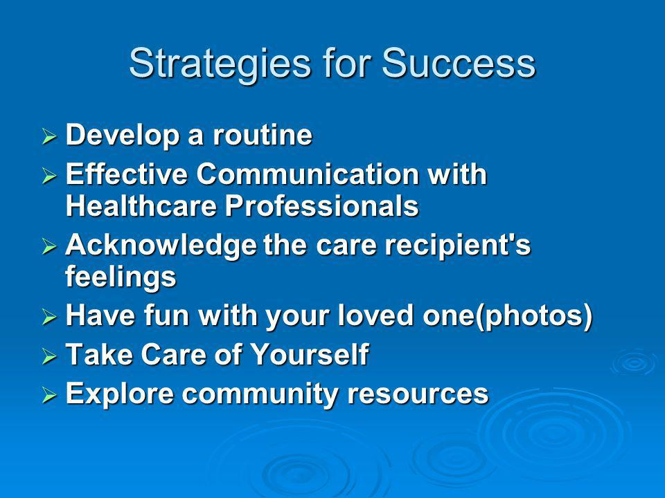 Strategies for Success Develop a routine Develop a routine Effective Communication with Healthcare Professionals Effective Communication with Healthcare Professionals Acknowledge the care recipient s feelings Acknowledge the care recipient s feelings Have fun with your loved one(photos) Have fun with your loved one(photos) Take Care of Yourself Take Care of Yourself Explore community resources Explore community resources