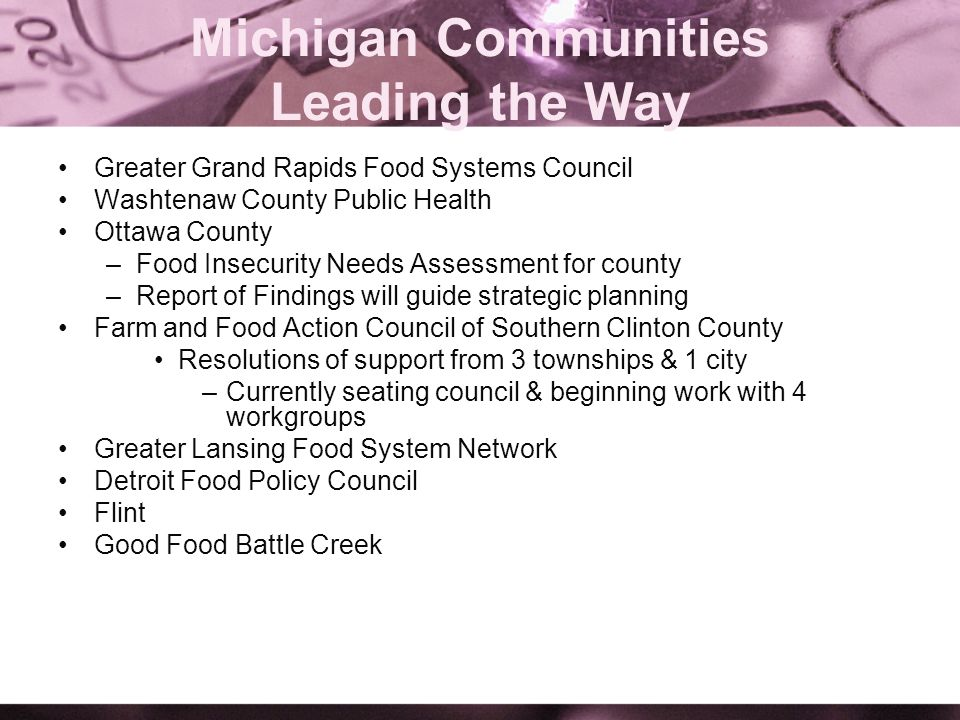 Michigan Communities Leading the Way Greater Grand Rapids Food Systems Council Washtenaw County Public Health Ottawa County –Food Insecurity Needs Ass