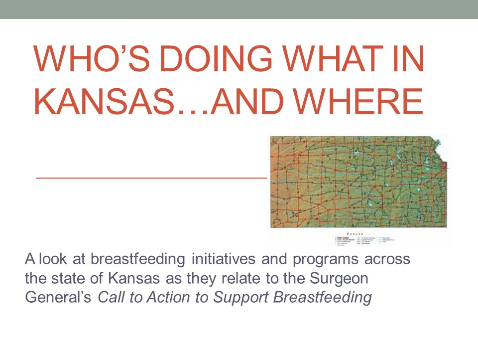 WHOS DOING WHAT IN KANSAS…AND WHERE A look at breastfeeding initiatives and programs across the state of Kansas as they relate to the Surgeon Generals Call to Action to Support Breastfeeding