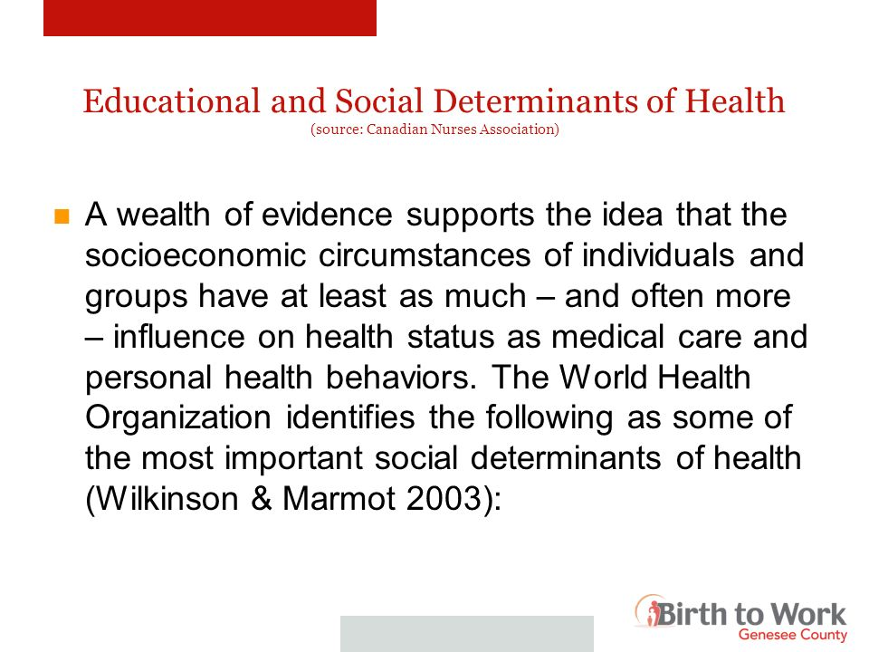 Educational and Social Determinants of Health (source: Canadian Nurses Association) Poverty Economic inequality Social status Stress Education Care in early life Social exclusion Employment and job security Social Support Food Security
