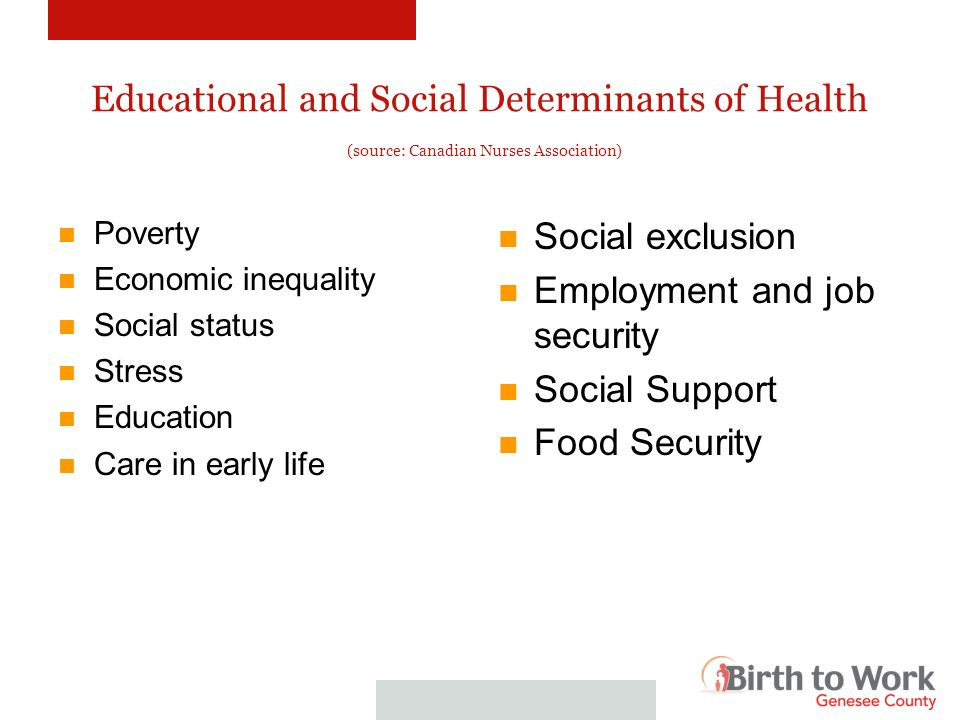 Educational and Social Determinants of Health (source: Canadian Nurses Association) Poverty Economic inequality Social status Stress Education Care in