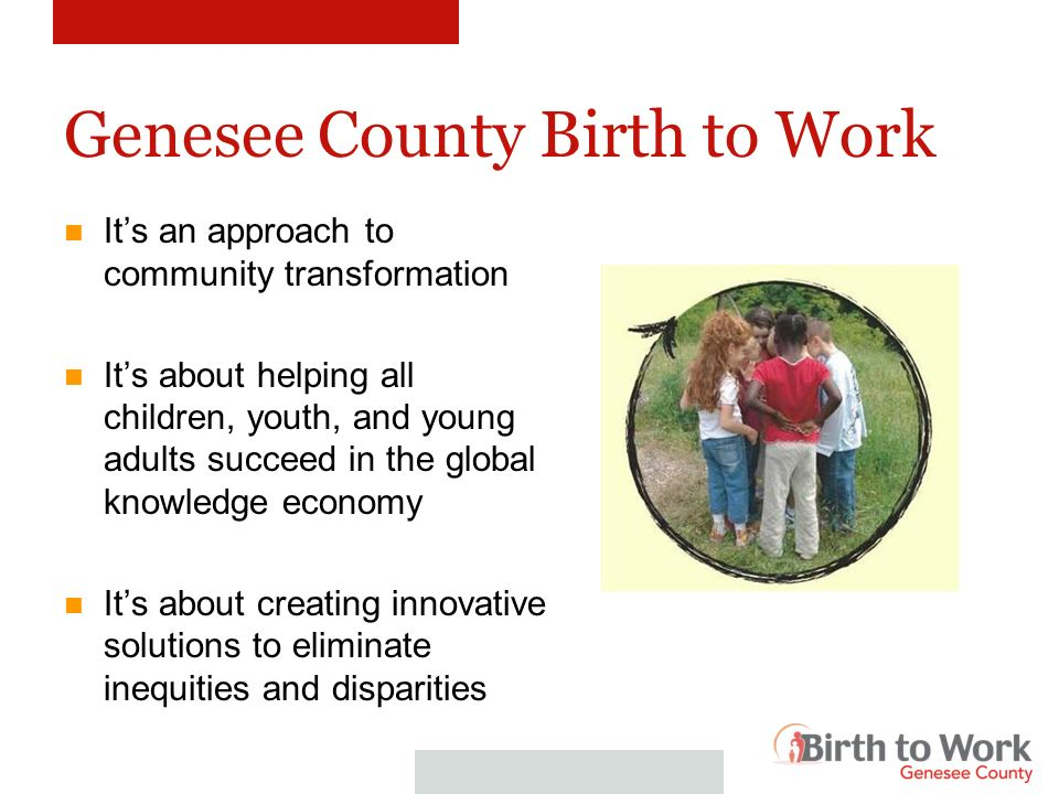 Genesee County Birth to Work Its an approach to community transformation Its about helping all children, youth, and young adults succeed in the global