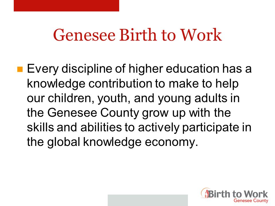 Genesee Birth to Work To better understand Birth to Work, lets start with the science of Birth to Work.