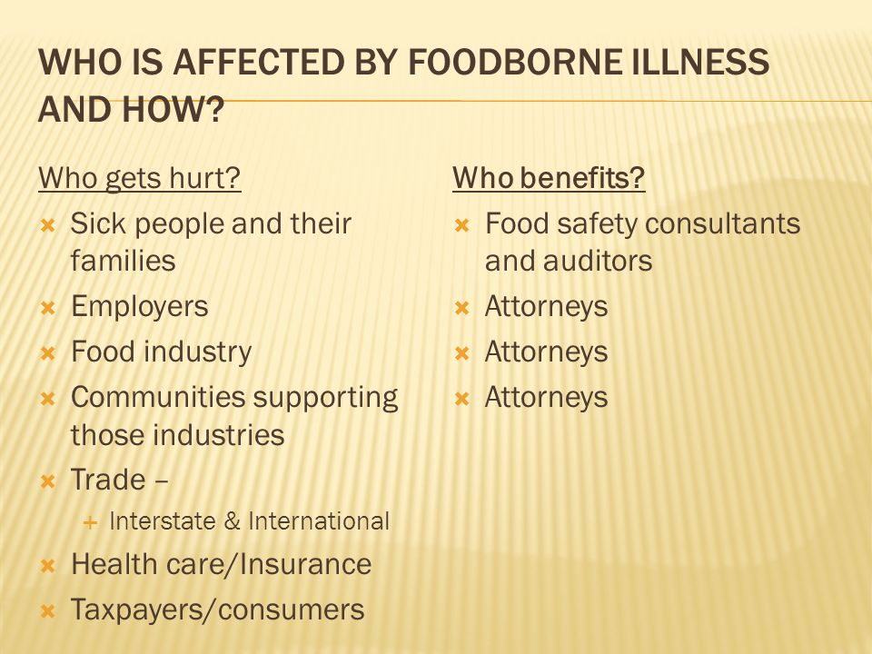 WHO IS AFFECTED BY FOODBORNE ILLNESS AND HOW. Who gets hurt.