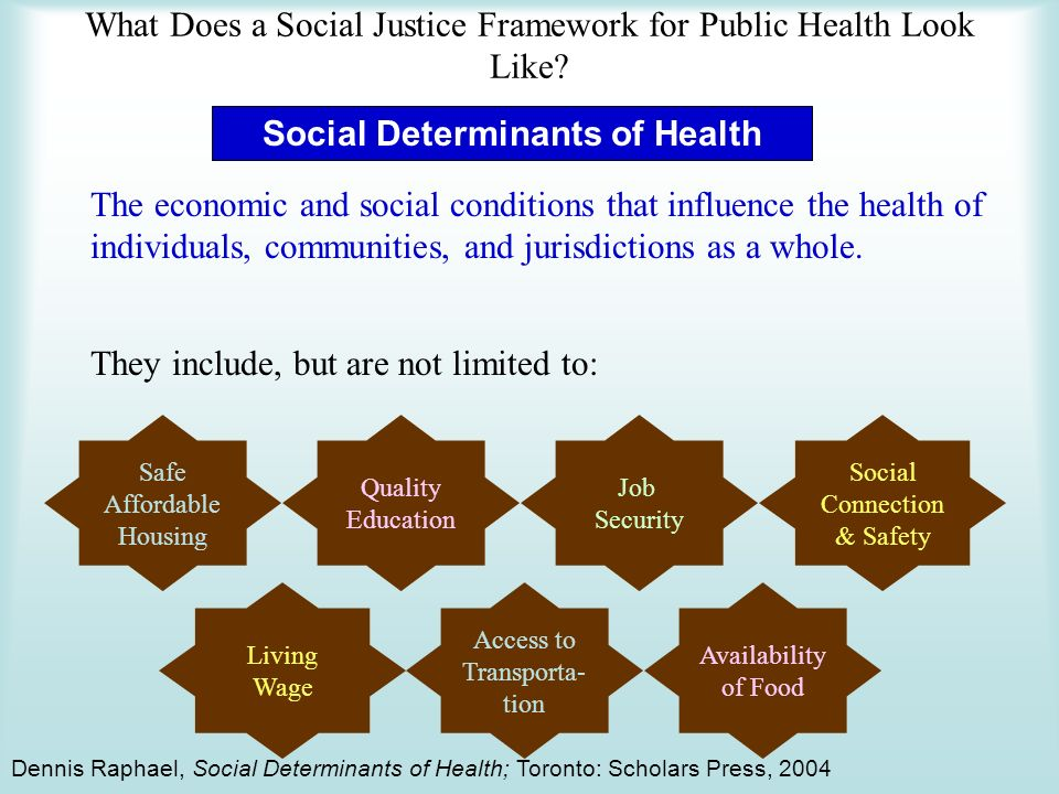Social Determinants of Health The economic and social conditions that influence the health of individuals, communities, and jurisdictions as a whole.
