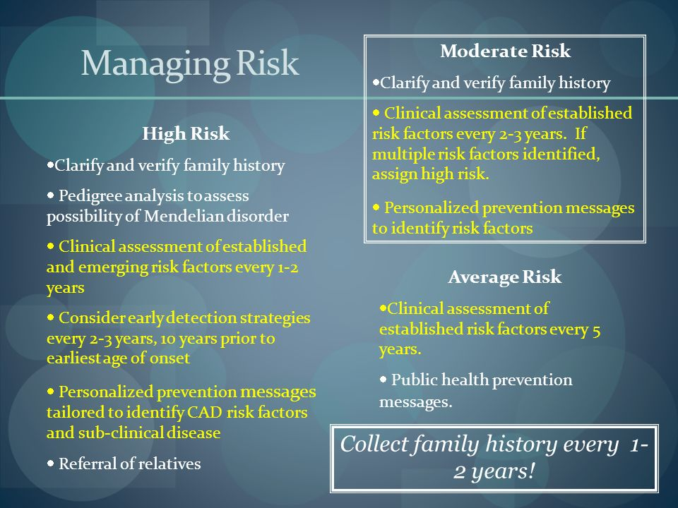 Managing Risk High Risk Clarify and verify family history Pedigree analysis to assess possibility of Mendelian disorder Clinical assessment of established and emerging risk factors every 1-2 years Consider early detection strategies every 2-3 years, 10 years prior to earliest age of onset Personalized prevention messages tailored to identify CAD risk factors and sub-clinical disease Referral of relatives Moderate Risk Clarify and verify family history Clinical assessment of established risk factors every 2-3 years.