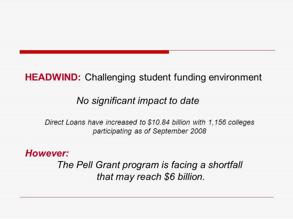 HEADWIND: Challenging student funding environment No significant impact to date Direct Loans have increased to $10.84 billion with 1,156 colleges part