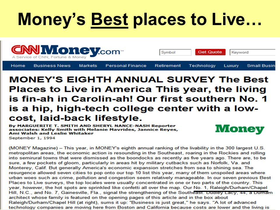 Moneys Best places to Live…