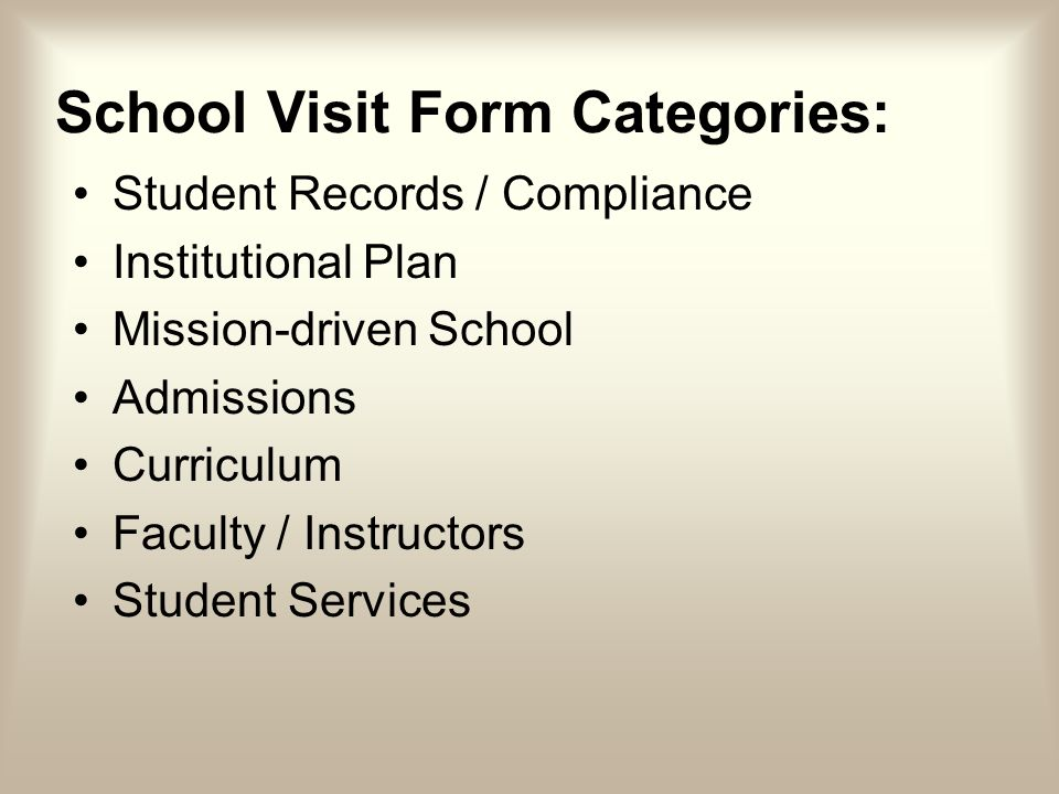 School Visit Form Categories: Student Records / Compliance Institutional Plan Mission-driven School Admissions Curriculum Faculty / Instructors Student Services