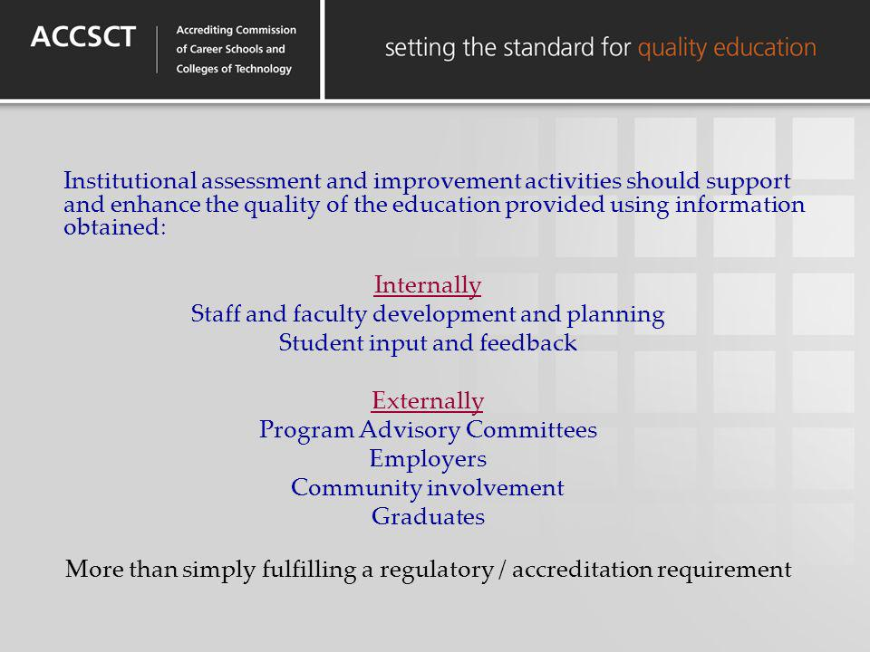 Institutional assessment and improvement activities should support and enhance the quality of the education provided using information obtained: Inter