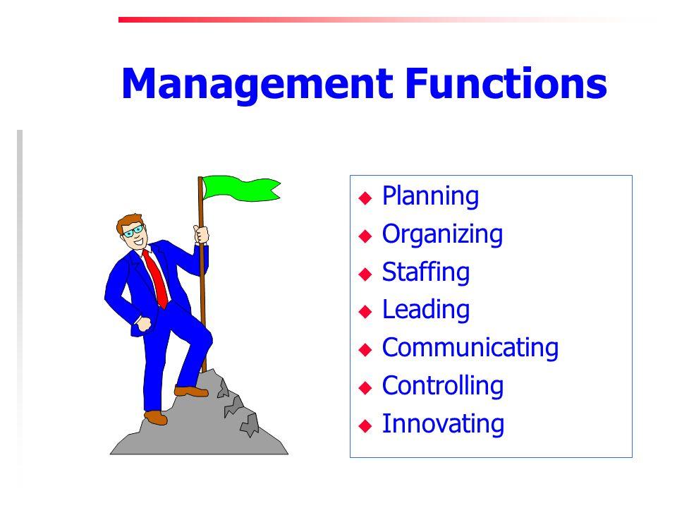 Management Functions u Planning u Organizing u Staffing u Leading u Communicating u Controlling u Innovating