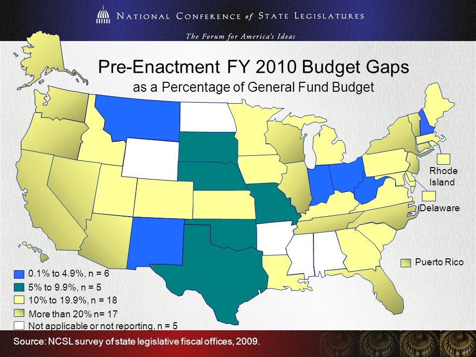 Pre-Enactment FY 2010 Budget Gaps as a Percentage of General Fund Budget Rhode Island Delaware Source: NCSL survey of state legislative fiscal offices, 2009.