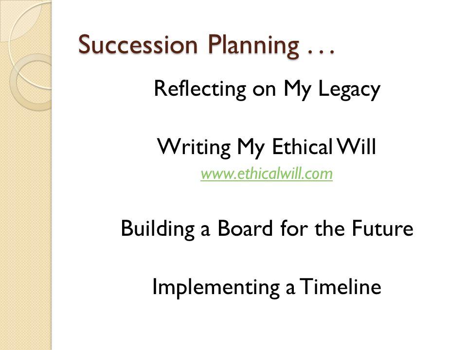 Succession Planning...