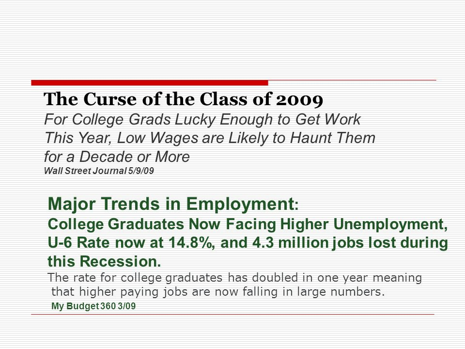 Beware the Wave The the challenge is to place 20 - 30% more graduates in a job market with 10% (17%) unemployment.