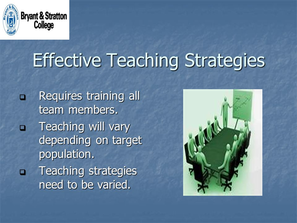 Effective Teaching Strategies Requires training all team members.