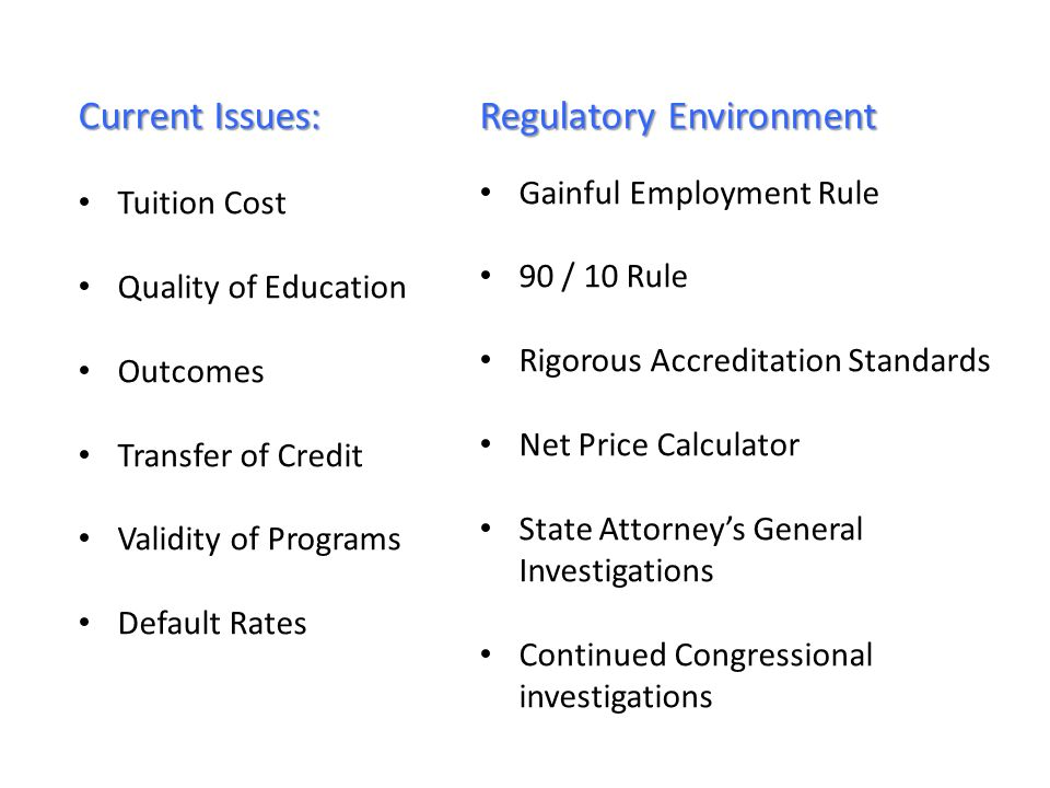 Current Issues: Tuition Cost Quality of Education Outcomes Transfer of Credit Validity of Programs Default Rates Regulatory Environment Gainful Employment Rule 90 / 10 Rule Rigorous Accreditation Standards Net Price Calculator State Attorneys General Investigations Continued Congressional investigations