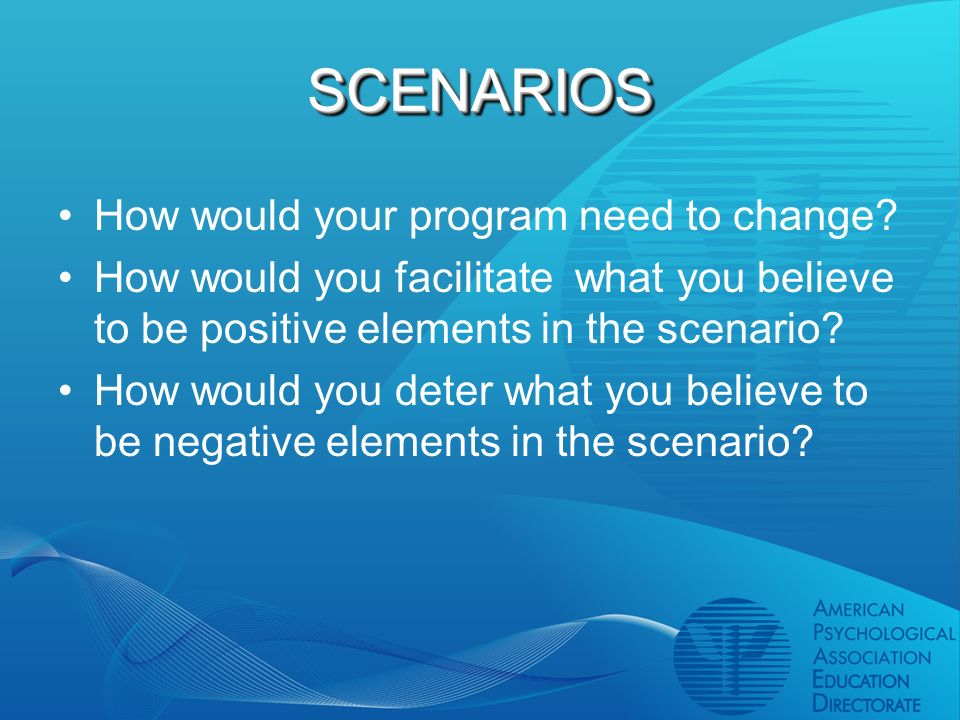 SCENARIOSSCENARIOS How would your program need to change.