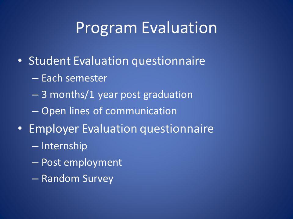Program Evaluation Student Evaluation questionnaire – Each semester – 3 months/1 year post graduation – Open lines of communication Employer Evaluation questionnaire – Internship – Post employment – Random Survey