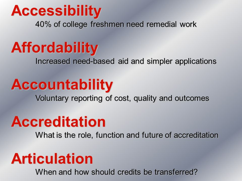Accessibility 40% of college freshmen need remedial work Affordability Increased need-based aid and simpler applications Accountability Voluntary repo