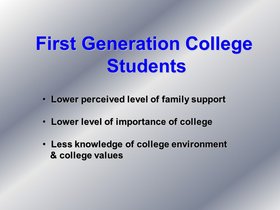 First Generation College Students Students Lower perceived level of family support Lower perceived level of family support Lower level of importance o