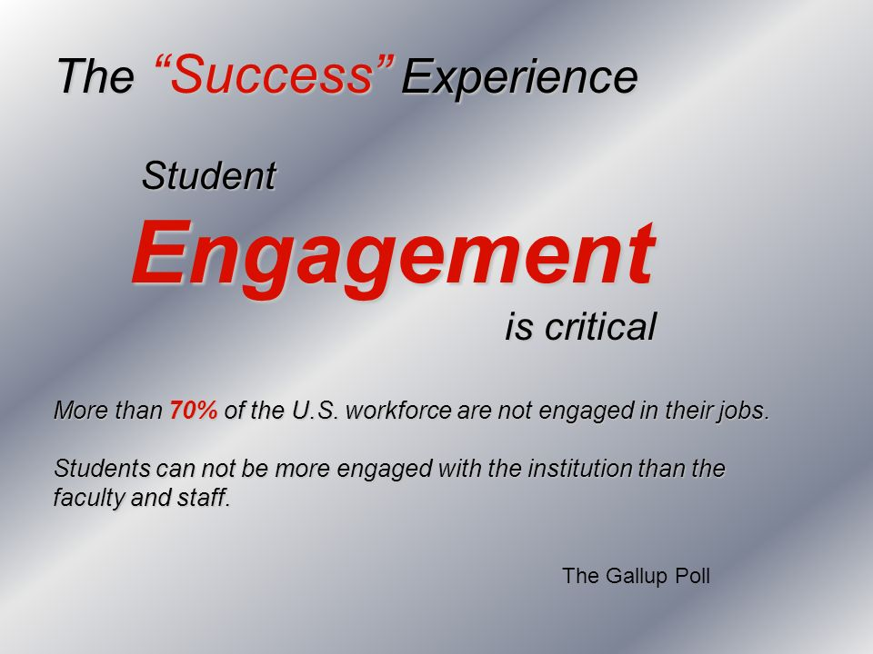 The Success Experience Student Engagement Engagement is critical is critical More than 70% of the U.S. workforce are not engaged in their jobs. Studen