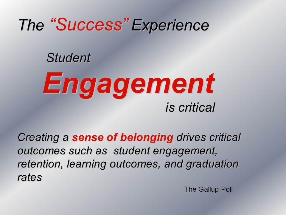 The Success Experience Student Engagement Engagement is critical is critical Creating a sense of belonging drives critical outcomes such as student en