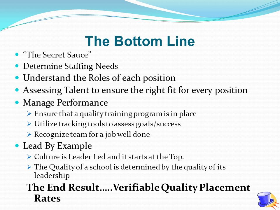 The Bottom Line The Secret Sauce Determine Staffing Needs Understand the Roles of each position Assessing Talent to ensure the right fit for every pos