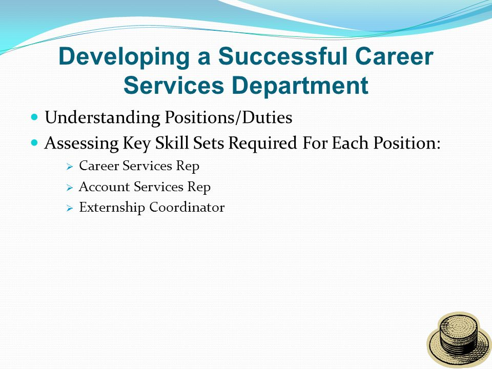 Developing a Successful Career Services Department Understanding Positions/Duties Assessing Key Skill Sets Required For Each Position: Career Services