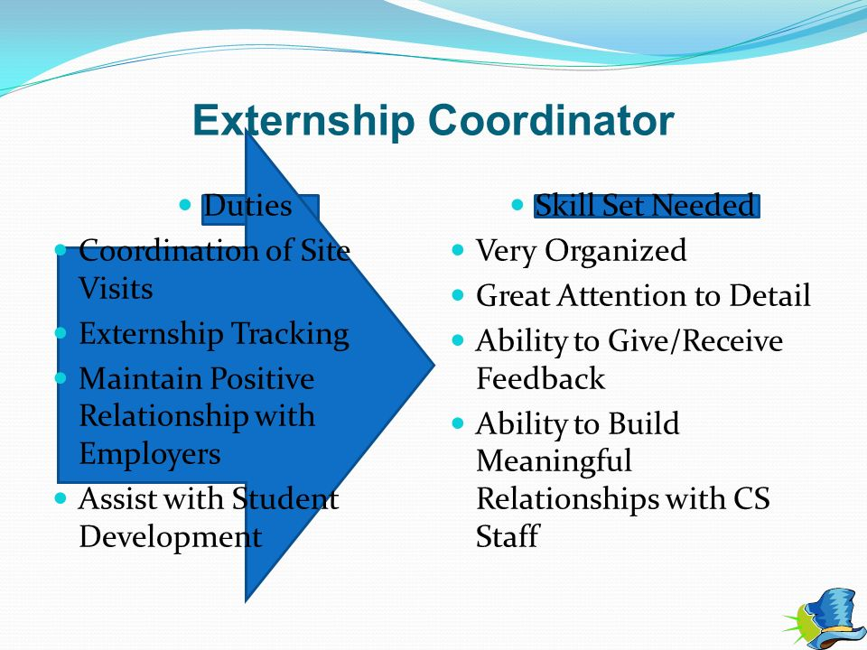 Externship Coordinator Duties Coordination of Site Visits Externship Tracking Maintain Positive Relationship with Employers Assist with Student Develo