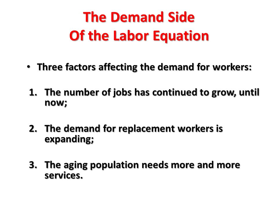 The Demand Side Of the Labor Equation Three factors affecting the demand for workers: Three factors affecting the demand for workers: 1.The number of