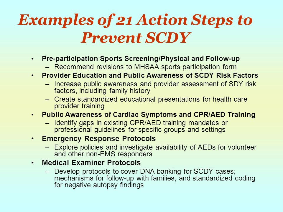 Examples of 21 Action Steps to Prevent SCDY Pre-participation Sports Screening/Physical and Follow-up –Recommend revisions to MHSAA sports participation form Provider Education and Public Awareness of SCDY Risk Factors –Increase public awareness and provider assessment of SDY risk factors, including family history –Create standardized educational presentations for health care provider training Public Awareness of Cardiac Symptoms and CPR/AED Training –Identify gaps in existing CPR/AED training mandates or professional guidelines for specific groups and settings Emergency Response Protocols –Explore policies and investigate availability of AEDs for volunteer and other non-EMS responders Medical Examiner Protocols –Develop protocols to cover DNA banking for SCDY cases; mechanisms for follow-up with families; and standardized coding for negative autopsy findings