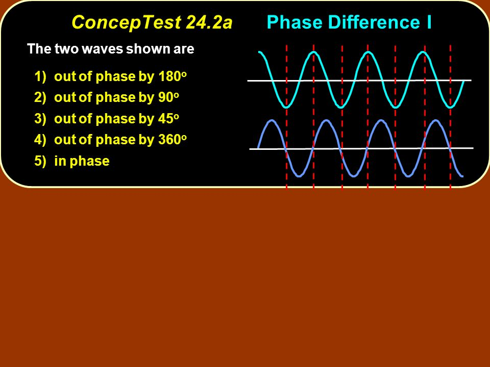 ConcepTest 24.2aPhase Difference I The two waves shown are 1) out of phase by 180 o 2) out of phase by 90 o 3) out of phase by 45 o 4) out of phase by