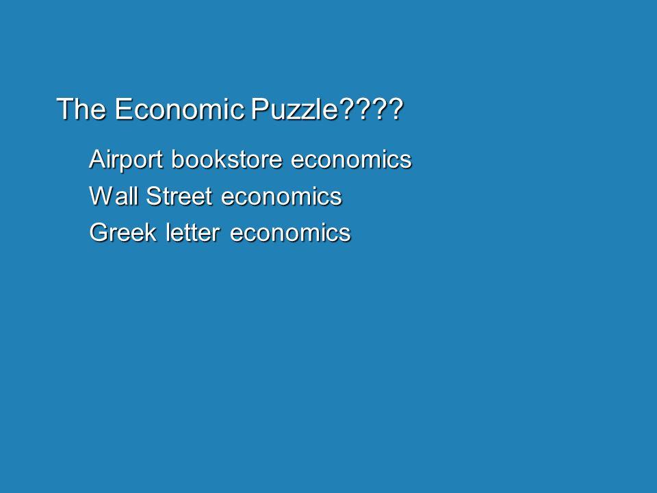 The Economic Puzzle???? Airport bookstore economics Wall Street economics Greek letter economics