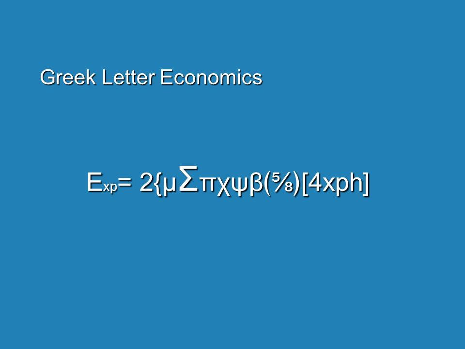 Greek Letter Economics E xp = 2{µ Σ πχψβ[4xph]