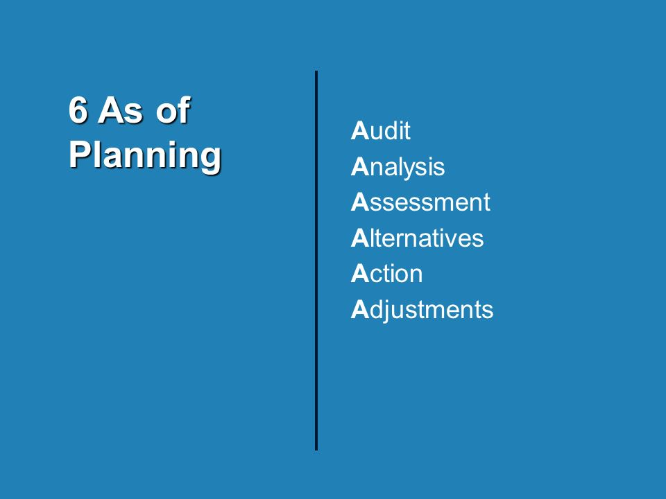 Audit Analysis Assessment Alternatives Action Adjustments 6 As of Planning