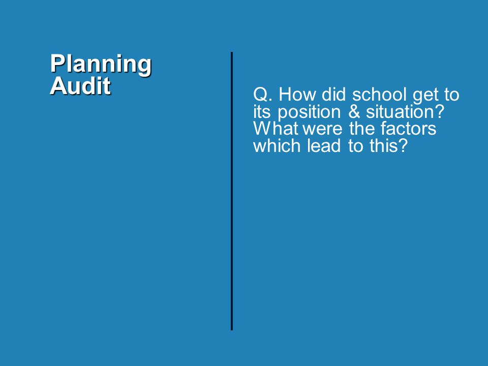 Q. How did school get to its position & situation.