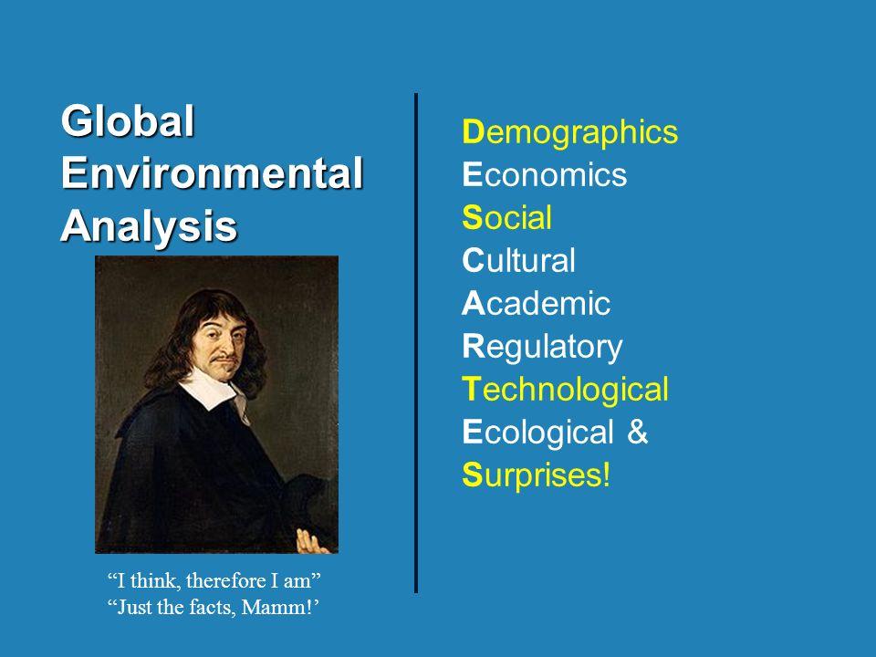 Global Environmental Analysis Demographics Economics Social Cultural Academic Regulatory Technological Ecological & Surprises.