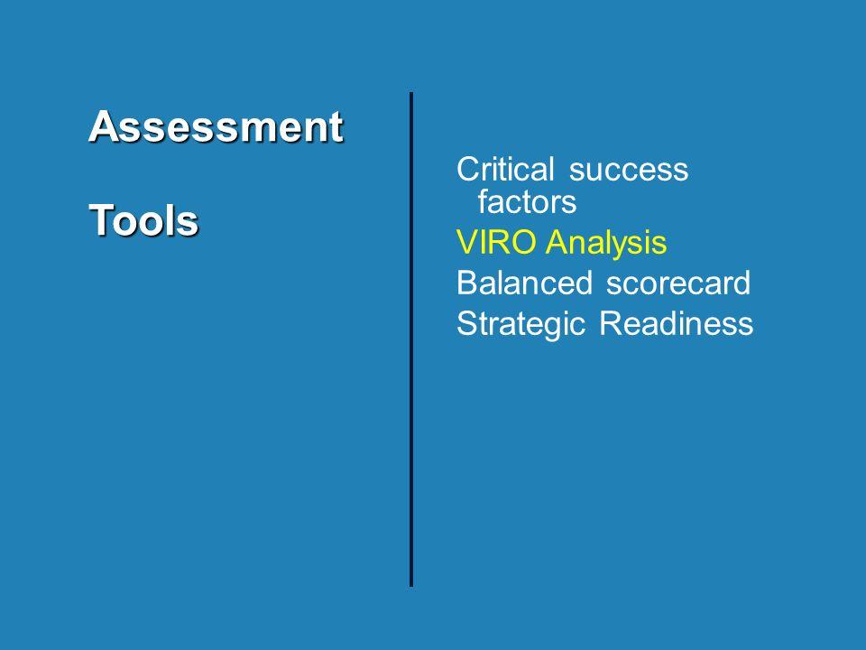 AssessmentTools Critical success factors VIRO Analysis Balanced scorecard Strategic Readiness