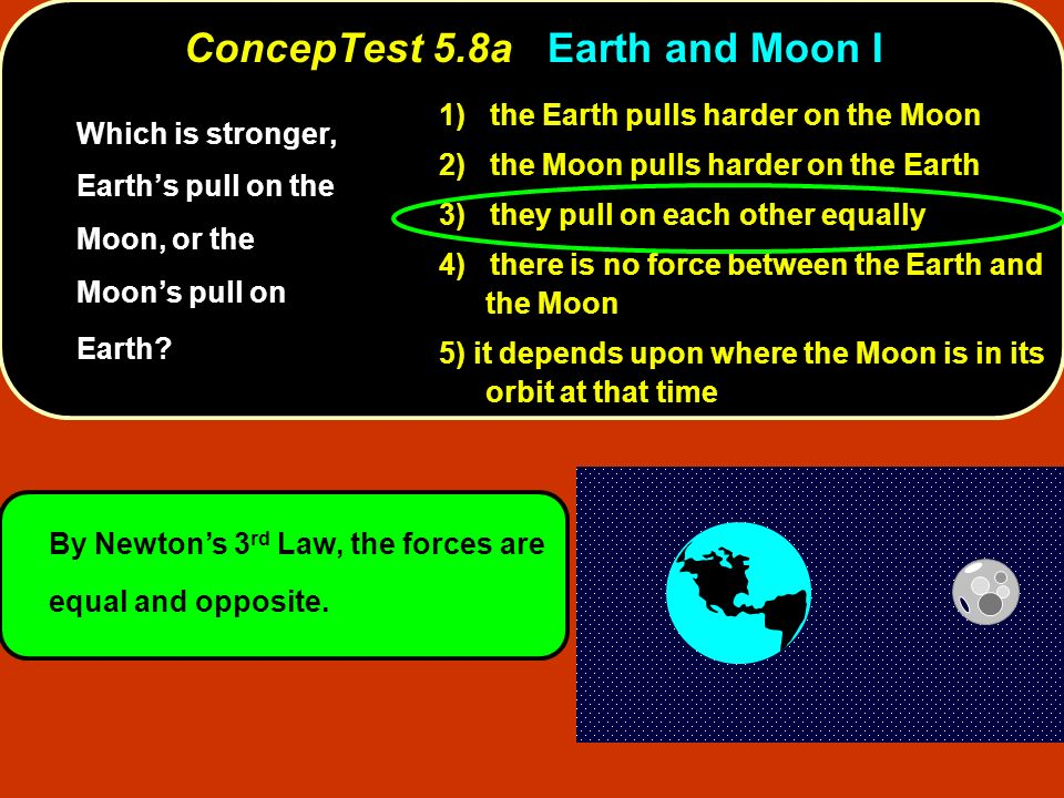 By Newtons 3 rd Law, the forces are equal and opposite. ConcepTest 5.8aEarth and Moon I ConcepTest 5.8a Earth and Moon I 1) the Earth pulls harder on